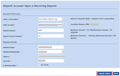 Open Online RD in Vijaya Bank