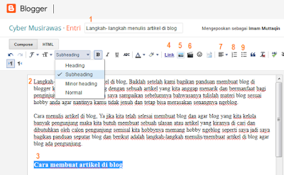 Langkah- langkah menulis artikel di blog