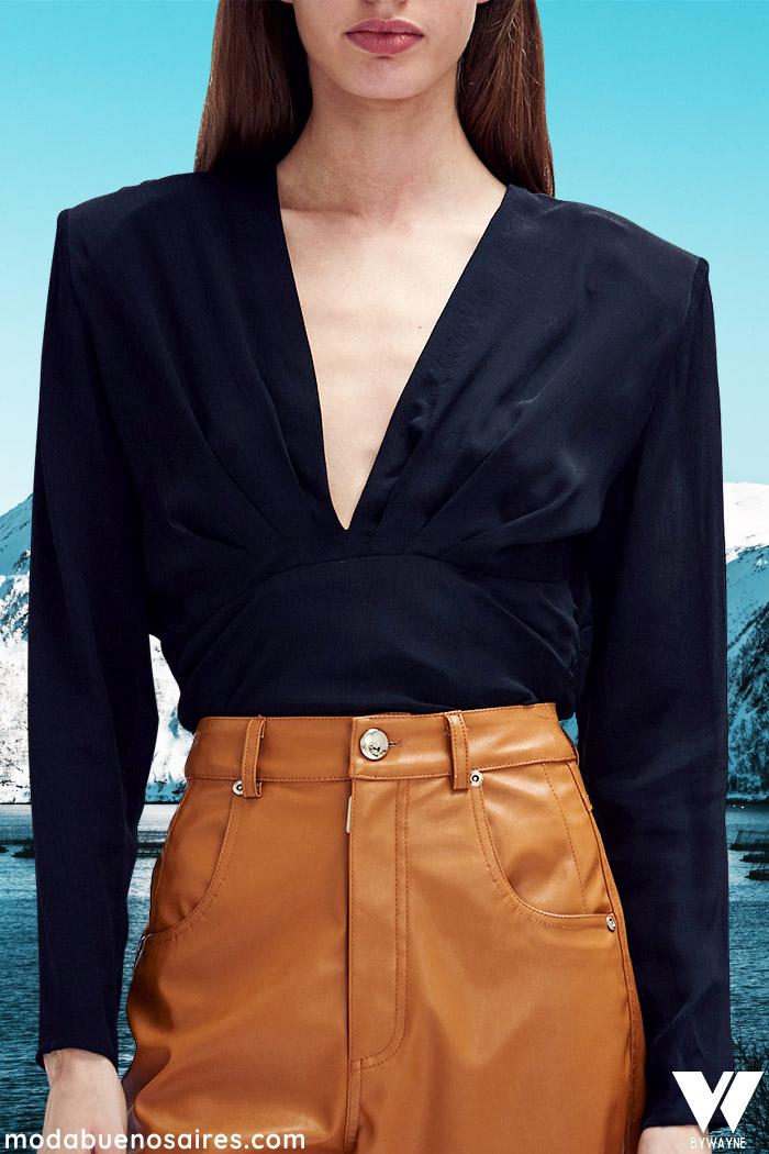 blusas de mujer invierno 2021 escote v