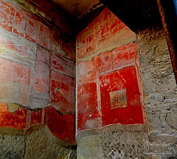 Restos de um afresco que decorava uma casa em Pompeia