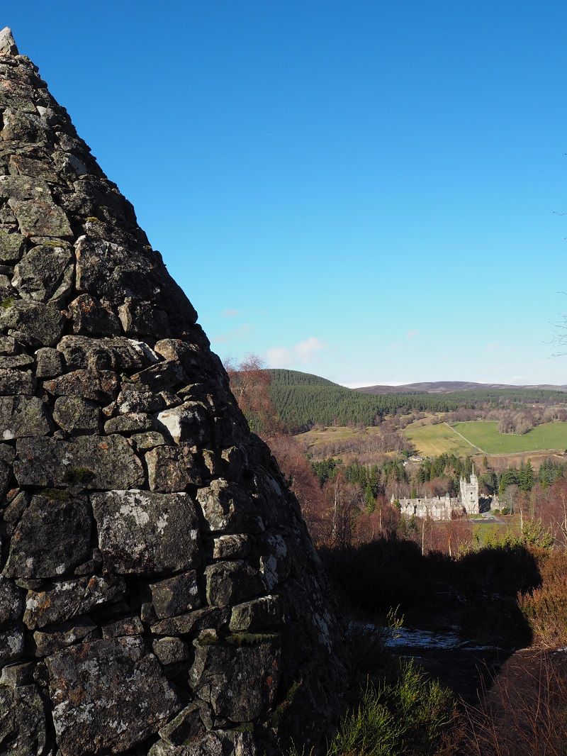 View of Balmoral Castle from one of the cairns on the estate