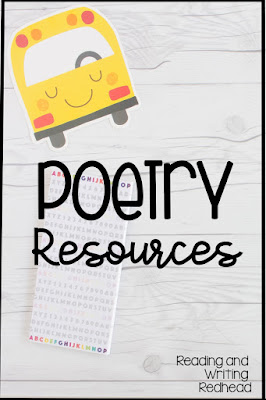 Poetry resources on white wood background