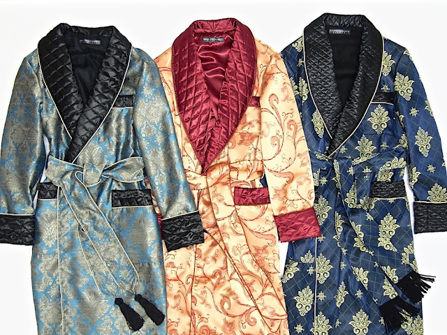Men's luxury dressing gown paisley robe quilted silk warm cotton