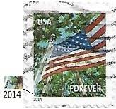 Selo Bandeira no Verão, microimpressão USPS