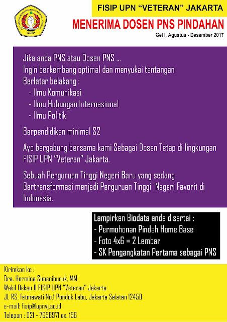lowongan dosen, dosen tetap, pindahan PNS, lowongan dosen UPN, UPN Veteran Jakarta
