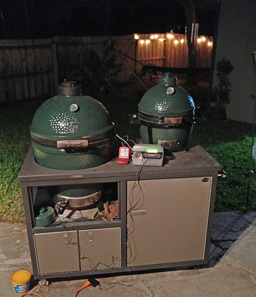 My sister's Challenger Designs Torch 48 with a large Big Green Egg and Mini-Max.