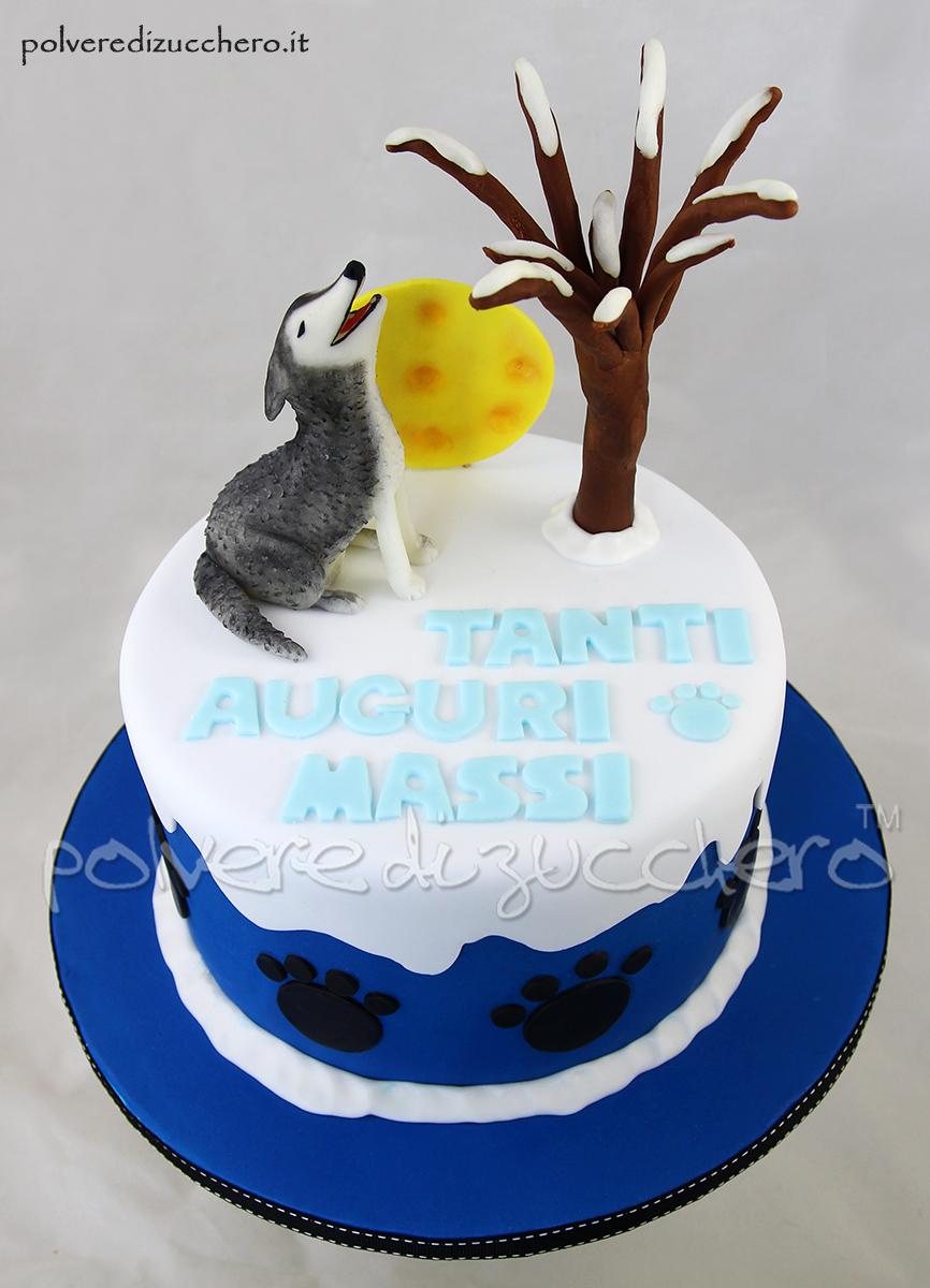 torta decorata cake design pasta di zucchero polvere di zucchero husky cane luna inverno winter dog compleanno