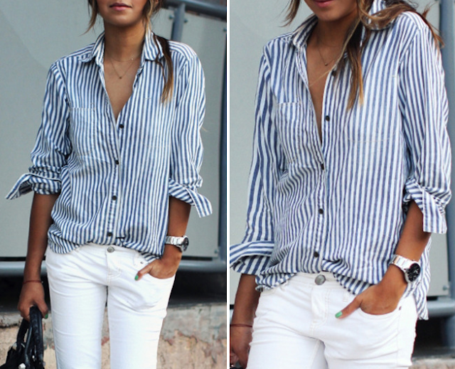 striped shirt outfit ideas