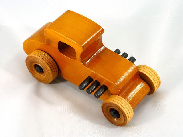 Right Front Top - Wooden Toy Car - Hot Rod Freaky Ford - 27 T Coupe - Pine - Amber Shellac - Black Hubs