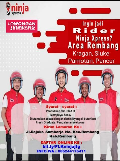 Lowongan Kerja Rider Ekspedisi Ninja Express Rembang Kragan Sluke Pamotan Pancur