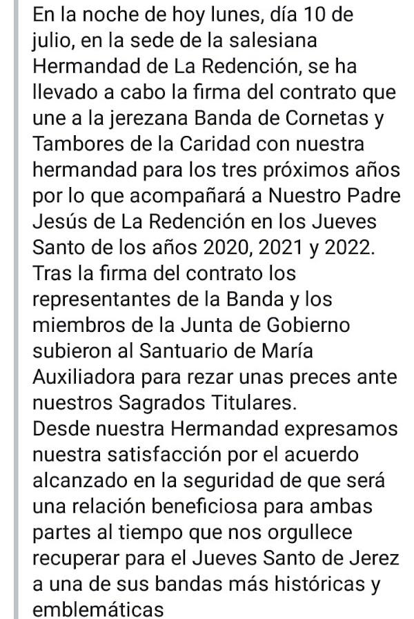 Esta noche se ha firmado el contrato de la CCTT La Caridad con la Hermandad de la Redención de Jerez