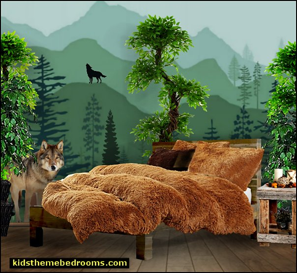 wolf forest bedroom  faux fur bedding Wolf Faux fur pillows  faux fur Sheepskin Area Rugs