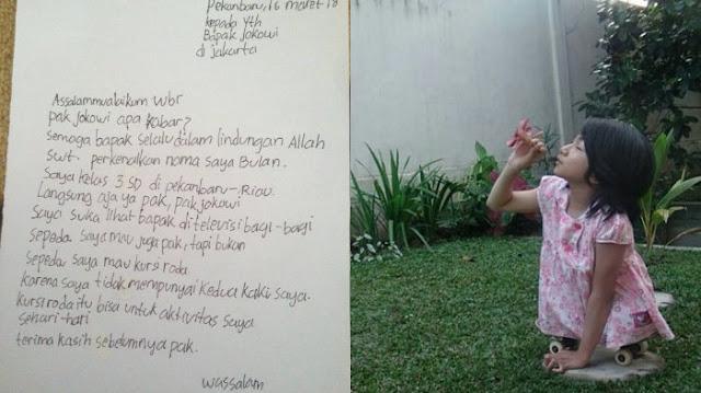Dapat Surat Memilukan dari Gadis Kecil Ini, Respon Presiden Jokowi Bikin Haru, Mimpi Bulan Agar Punya Kursi Roda .....