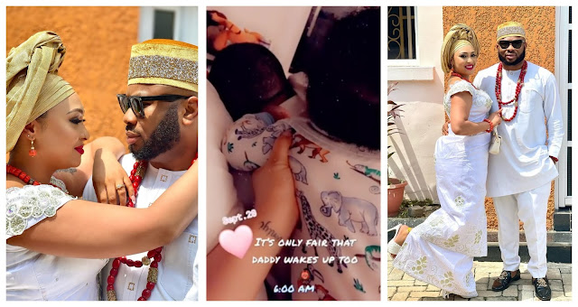Husband material with one million yards- Actress Rosy Meurer showers Praises on her husband Olakunle Churchill after doing papa duties (Video)