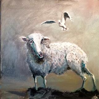 Galleriayoellploger, Ayoe, Lise, Lysgaard, Pløger, får, sheep, måge, seagull, marsk, vadehav, landskab, landscape, galeri, colourfull