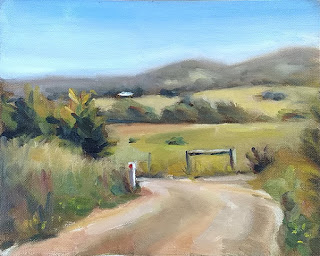 Oil painting of a gravel road leading to grassy paddocks and distant hills.