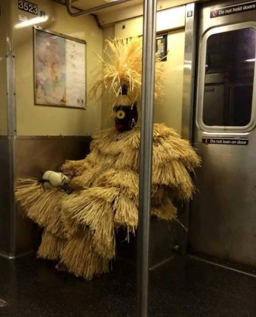 Harry the Hunter catching the subway in NYC