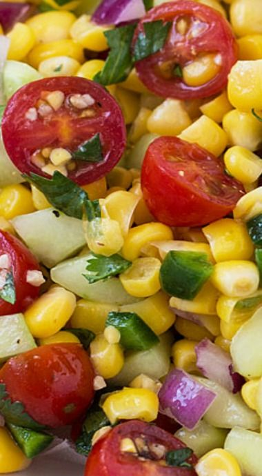 This hearty Corn, Tomato and Cucumber Salad is so easy to prepare and bursting with flavor!