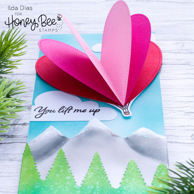 Honey Bee Stamps | Day 2 | Bee Mine Blog Hop | 3D Heart Hot Air Balloon Scene Card