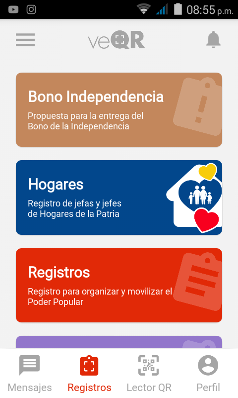 Ya fue Activada la aplicación VeQR BONO INDEPENDENCIA