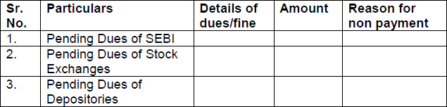 FORMAT FOR REPORT ON UNPAID DUES