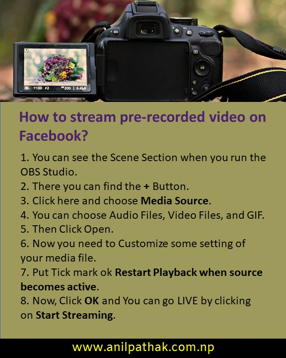 How to stream pre-recorded video on Facebook?