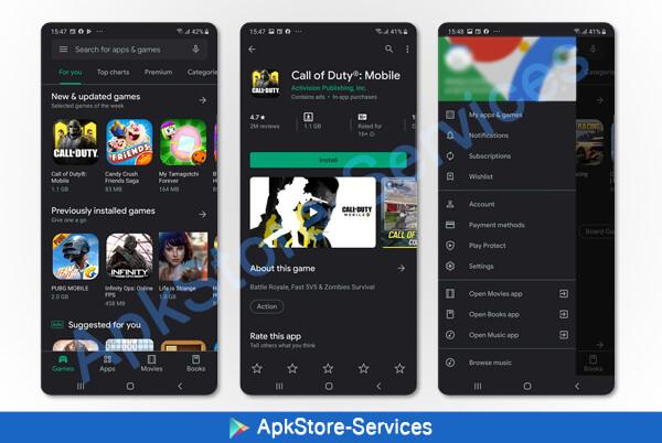 الوضع المظلم لمتجر قوقل بلي Google Play Store Dark Mode