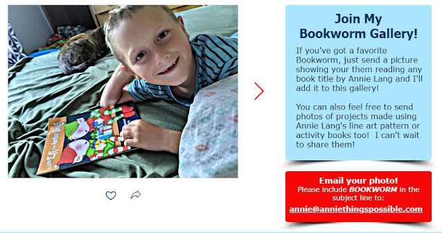 Join Annie Lang's Bookworm Gallery  by submitting a photo of your favorite bookworms!
