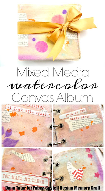 Mixed Media Watercolor Canvas Album by Dana Tatar for Faber-Castell Design Memory Craft