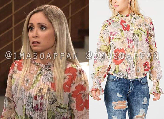 Lulu Spencer Falconeri, Emme Rylan, Light Pink Floral Print Blouse, General Hospital, GH
