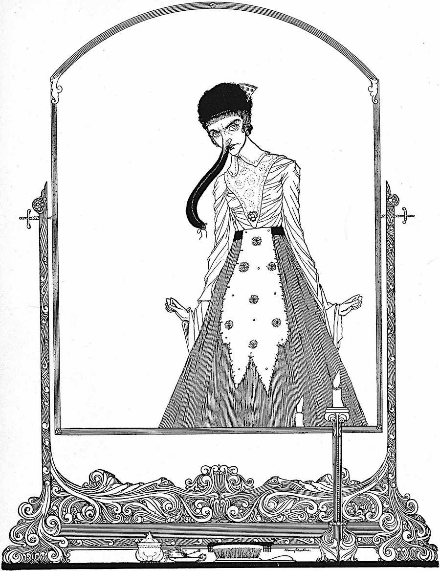 Harry Clarke illustration of a woman at her mirror