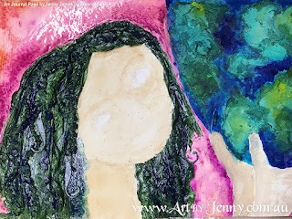 hair painting for mixed media artwork featuring Mother Nature and the Earth by Jenny James