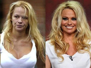 fotos de famosos antes e depois da maquiagem - pamela anderson