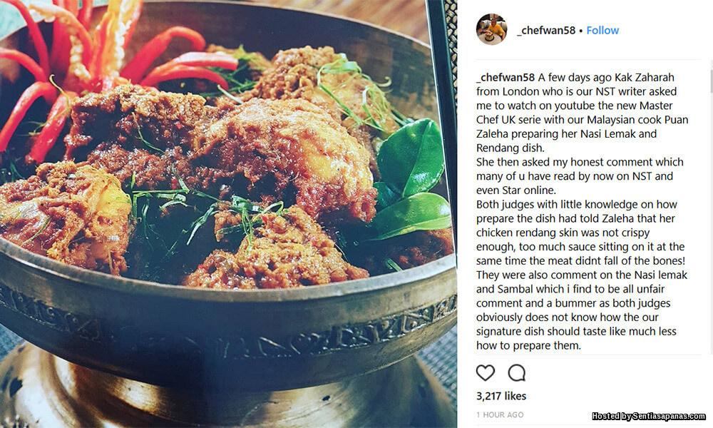 Juri MasterChef UK Dikritik Tak Kenal Nasi Lemak Rendang Ayam
