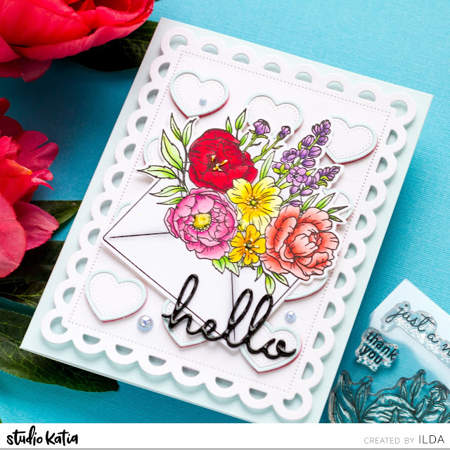 card making, Copic Markers, Die cutting, Floral Friendship Card, Flourishing Note, handmade card, hearts, Hello, how to, ilovedoingallthingscrafty, stamping, Stamps, Studio Katia,