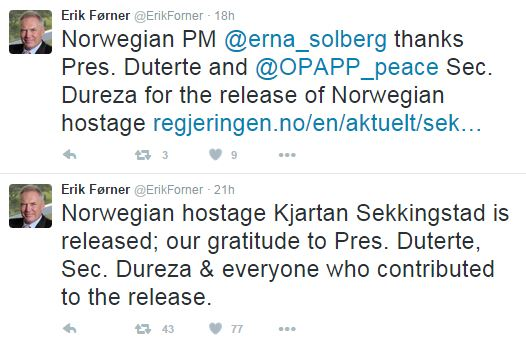 Norwegian Ambassador Thanked Pres. Duterte for Sekkingstad's Release.
