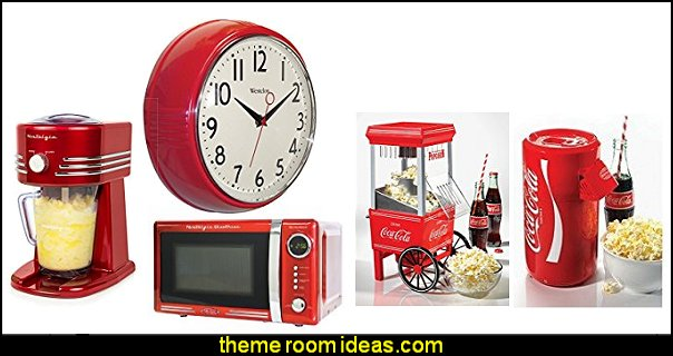 Nostalgia Electrics  50s bedroom ideas - 50s theme decor - 1950s retro decorating style - 50s diner - 50s party decorations - 1950 bedding - 50s retro diner furniture - Elvis Presley - booth dinette decor - Rock and Roll - 1950s retro home decor - 50s retro kitchen - 50s themed party props - vintage advertising wall decals - Cadillac Wall Shelf -