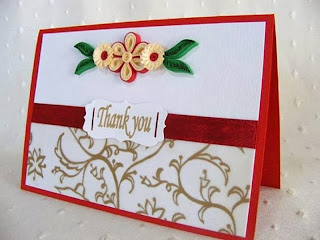 Quilled paper thank you card