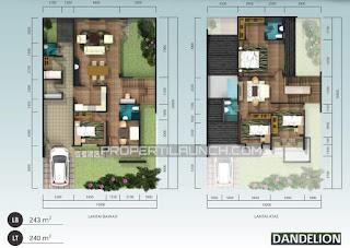 Denah Rumah Tipe Dandelion ORLANDA Tahap 2