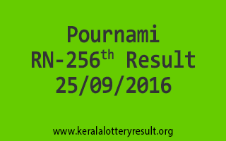 Pournami RN 256 Lottery Result 25-9-2016