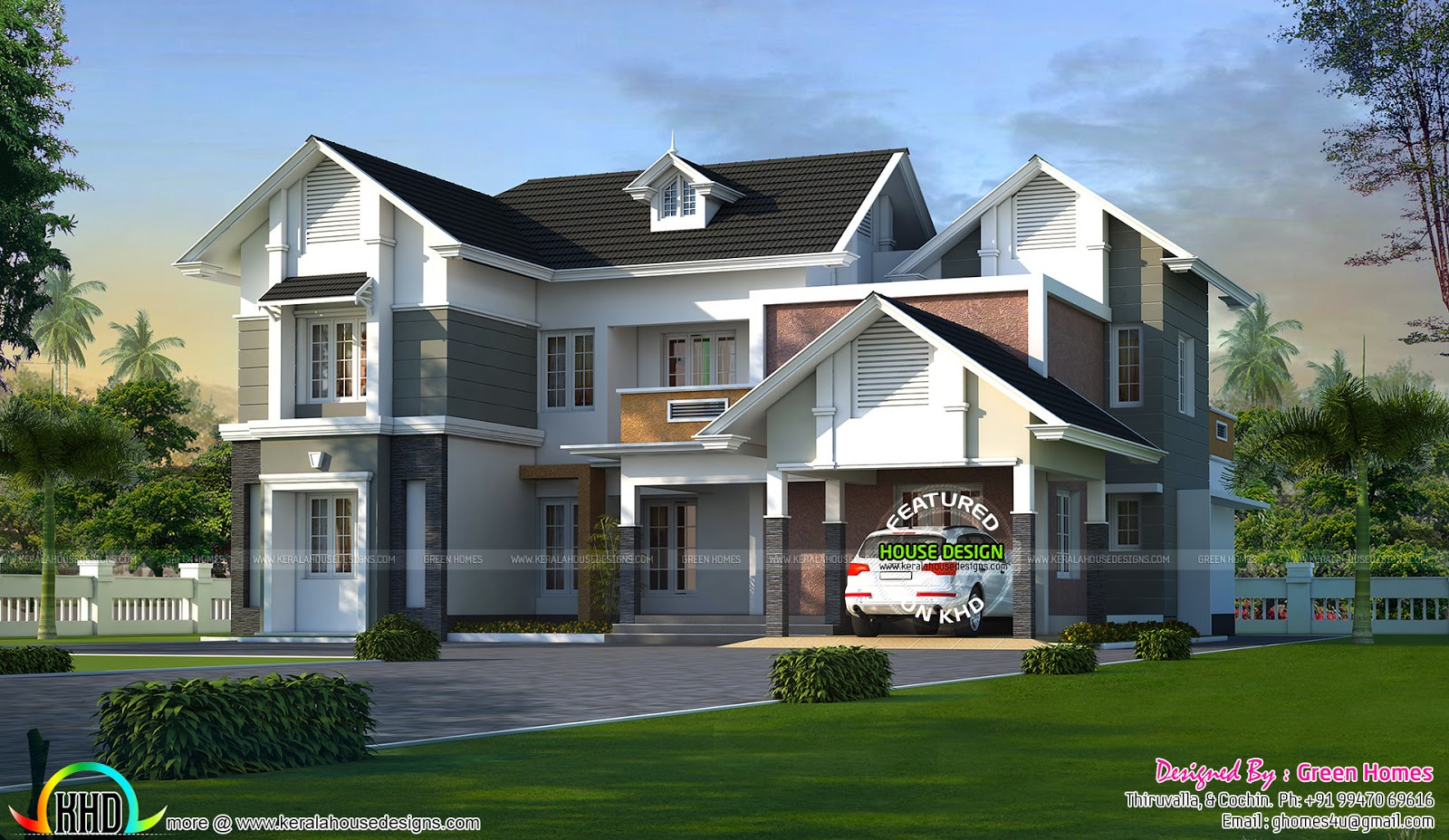Elegant villa plan 2700 sq ft kerala home design and for Ground floor vs first floor