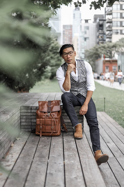 Leo Chan wearing Sperry Gold Cup Exeter Chelsea Boots and Coach Backpack | Summer to Fall Style | Asian Male Model and Blogger