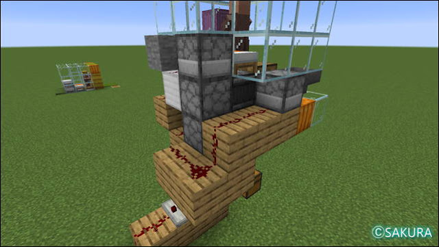 Minecraft 自動小麦畑兼取引所の配線(右)