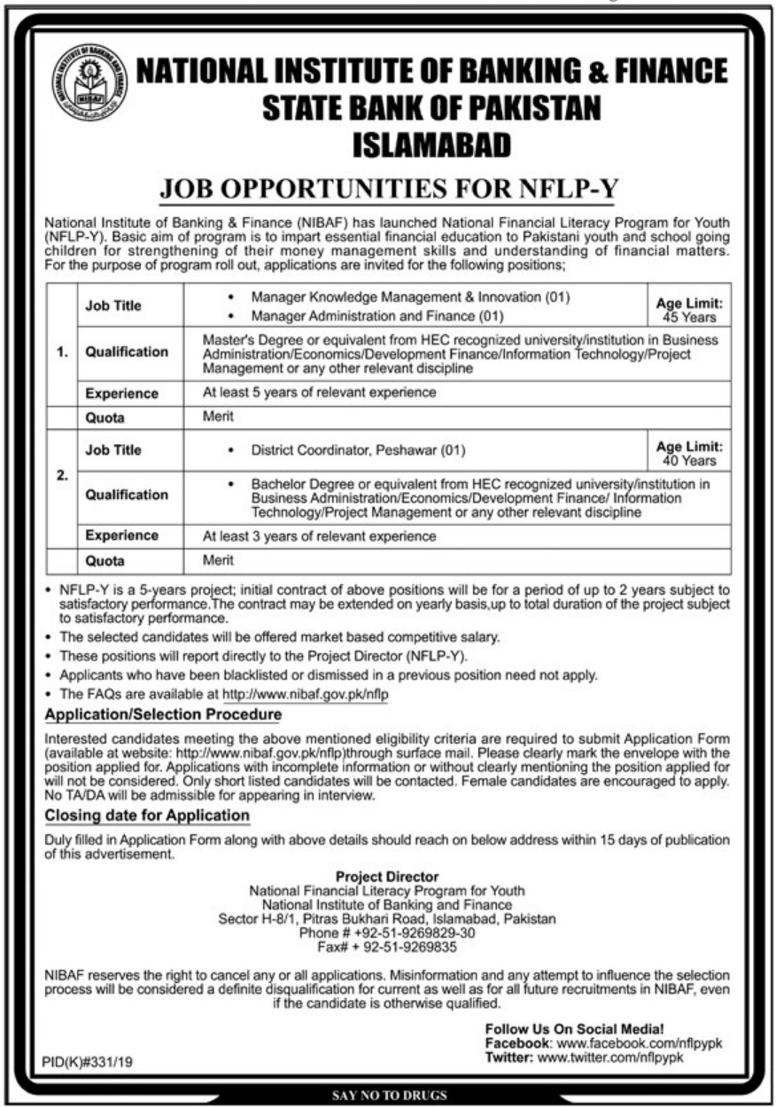 National Institute of Banking & Finance NIBAF Jobs 2019 SBP Islamabad Latest