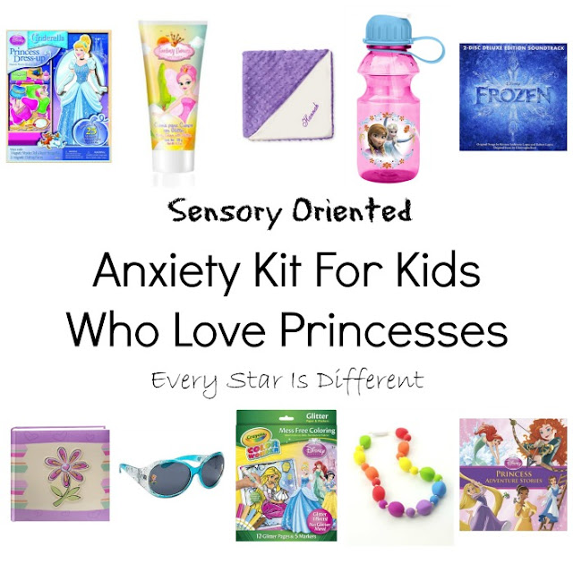 Sensory oriented anxiety kits for kids who love Princesses.