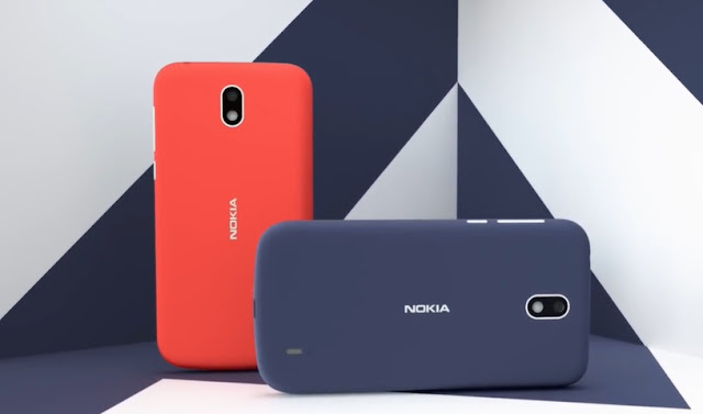 Nokia 1 in Warm Red and Dark Blue