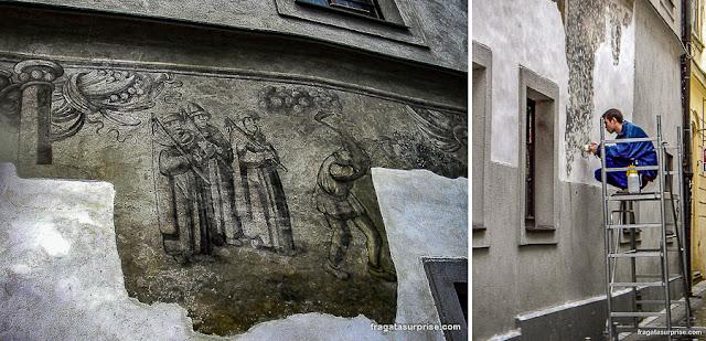 Restauração de fachada histórica em Bratislava, Eslováquia