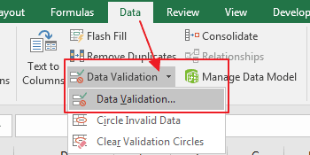 Data Validation Menu