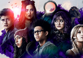 publicity shot of Marvel's Runaways, showing the six young characters and their superpowers