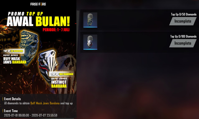 Event Bonus Top Up Free Fire Awal Bulan Juli 2020 2 Masker Sekaligus